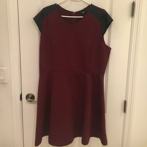 Dresses & Skirts - Wine color dress with faux leather detail