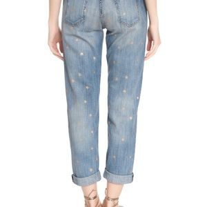 Current Elliot gold star print boyfriend jeans 28