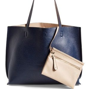 StreetLevel Reversible Faux Leather Tote &Wristlet