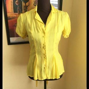 ASOS Yellow Button Down Top Size 6