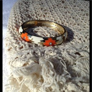 New! Cream orange gold bangle bracelet