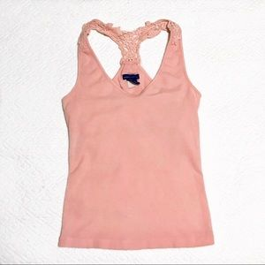 Racerback blush cotton tank with lace detailing