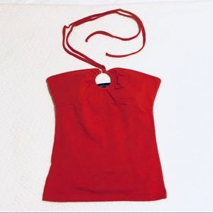 Red halter top with ring detailing
