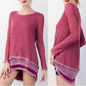 Tops - Plum ruffle hem tunic top