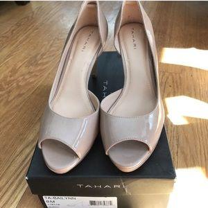 Tahari nude patent leather peep toe pumps