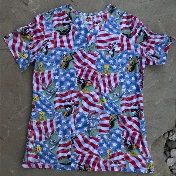 c7102a149d3 Looney Tunes Tops - Looney Tunes Patriotic Scrubs Top