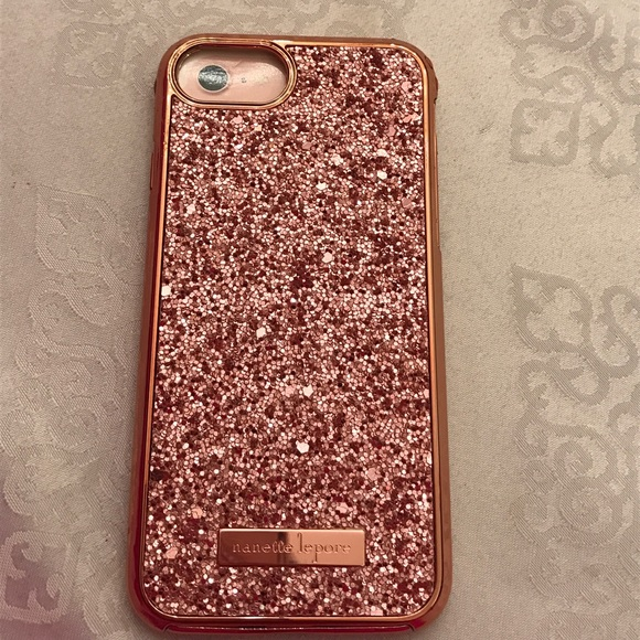 Nanette Lepore 2 Pc rose gold glitter iphone case 3802b24bcc31