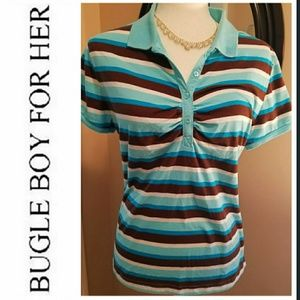 BUGLE BOY For Her Striped Polo