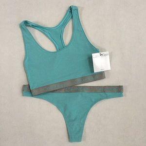840f0dc905 Calvin Klein Intimates   Sleepwear - Calvin Klein Aqua Radiant Bralette   Thong  Set