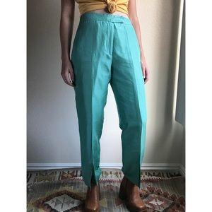 Vintage✨100% silk teal split-leg trousers