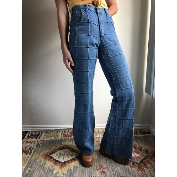 38cbb746 Vintage✨RARE 70s patchwork bell bottom jeans