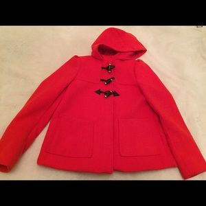 Red toggle peacoat