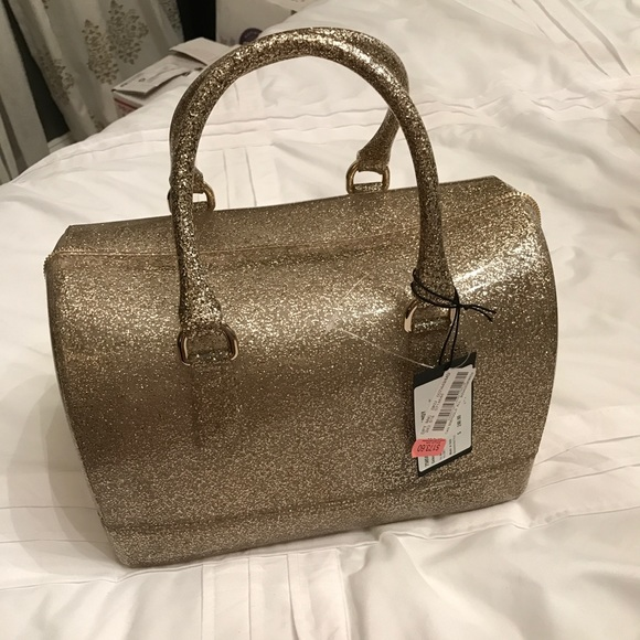 Furla Bags Nwt Candy Gold Glitter Jelly Tote Poshmark