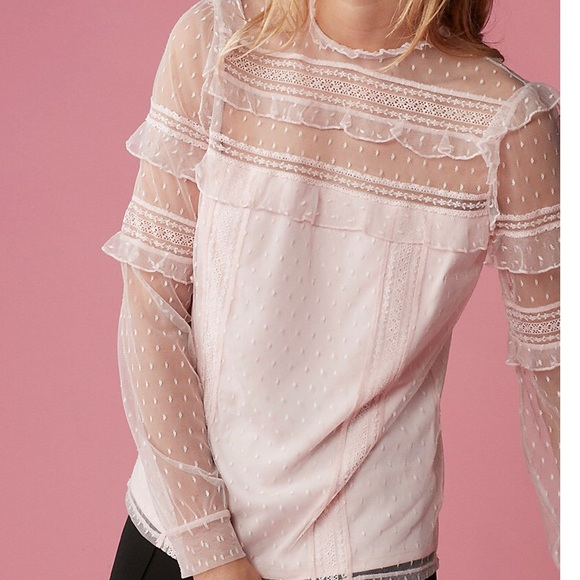 f77e1a2fe9bd74 Express Tops | Petite Pieced Lace Long Sleeve Blouse | Poshmark