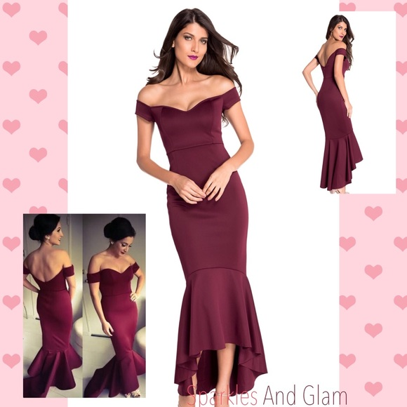 4b2348bb60 SALE!!♥️ Maroon Mermaid off-shoulder Evening Gown Boutique