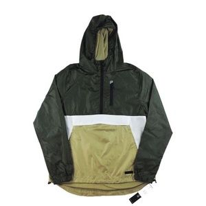 Half Zip Windbreaker - Olive/White/Gold