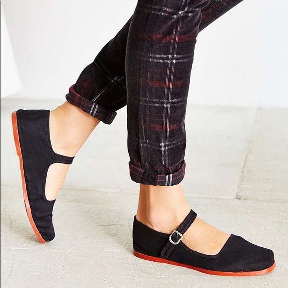 Urban Outfitters Shoes Nwot Black Cotton Mary Jane Flats Poshmark