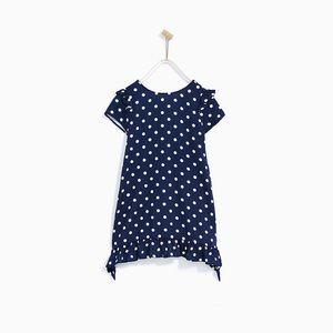 Zara girls navy blue frilled dress w/ polka dots