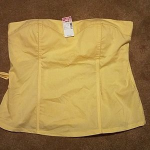 Yellow strapless top