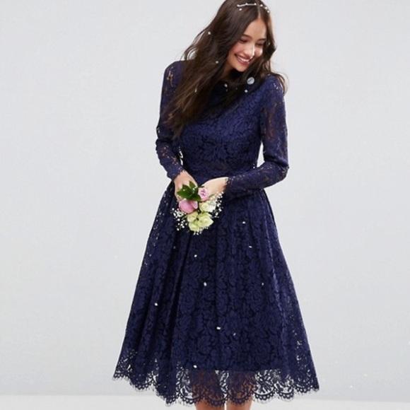 Asos Dresses Wedding Navy Blue Lace Long Sleeve Prom Dress Poshmark