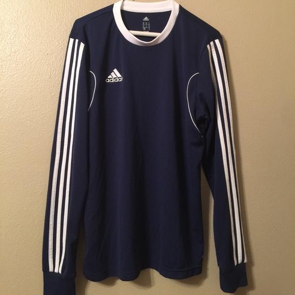 adidas Shirts | Vtg Adidas Soccer Jersey Long Sleeve Top Navy Blue ...
