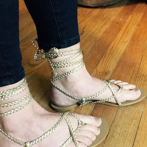 Lace Up Tie Gold Sandals Gladiator Toga Party