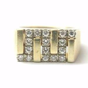 Other - Fine Man's Zig Zag Diamond Jewelry Ring Yellow Gol