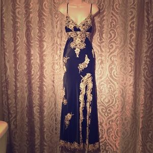 Beautiful silk black gown with slit