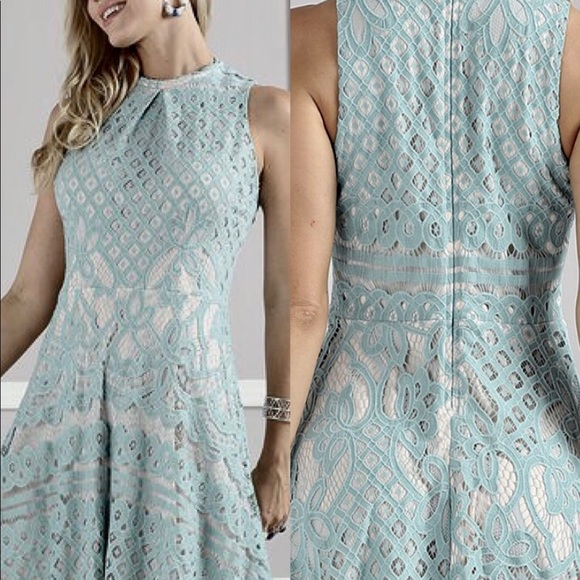 b375f58954f DUSTY BLUE LACE FIT   FLARE DRESS  NWT  NBW  TTS