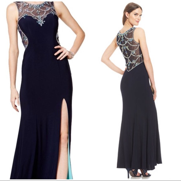 5abcd2744fd Betsy   Adam Dresses   Skirts - Betsy   Adam Embellished Sweetheart  Illusion Navy