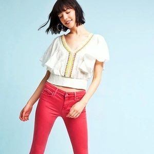 ANTHROPOLOGIE Floreat Aviana Embroidered Top