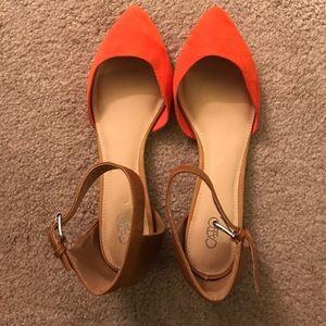 Orange and tan flats