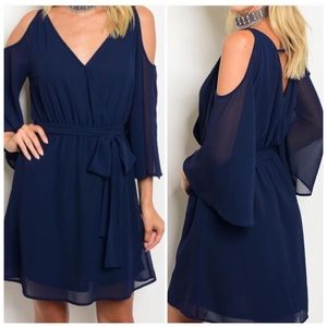Navy Blue Cold Shoulder Dress