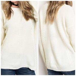 Sweaters - Ivory Long Sleeve Knit Sweater
