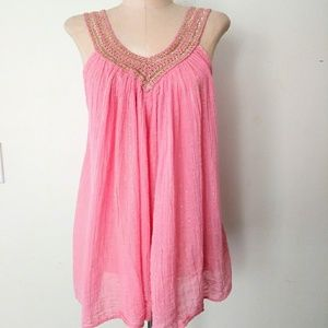 70s Grecian Style Gauze Pink & Mettalic Gold Top