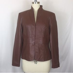 Cognac leather Nicole Miller XL jacket