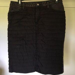 Bisou bisou midi pencil ruffle black denim skirt