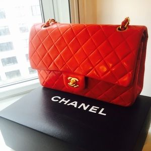 Chanel red lamb skin quilted classic 2.55 bag