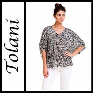 Tolani 'Elenor' Black & White Zebra Silk Blouse