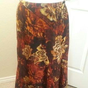 Long Floral Skirt Rust, Tan &Brown,  R.Q.T,    8