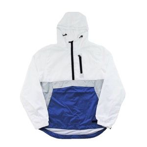 Half Zip Windbreaker - White/Grey/Blue
