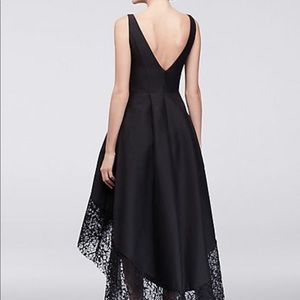 Betsy   Adam Dresses - Taffeta High-Low Ball Gown with Wide Lace Hem b2cf3e6d0