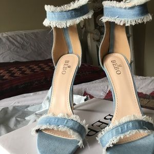 Nastygal Denim Open toe Heels