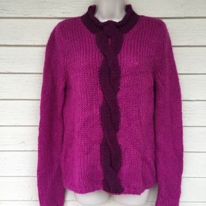 L.L.BEAN cable front 21% mohair sweater