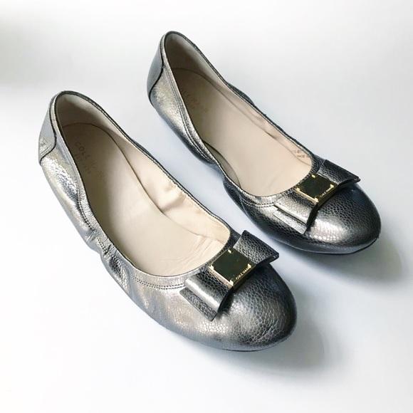 Cole Haan Dark Silver Metallic Tali Bow