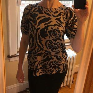 Brown/black LOFT blouse, short sleeve, loose fit
