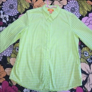 Lime green checker long sleeve button up