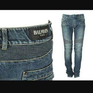 BLACK Balmain Paris Moto Jean