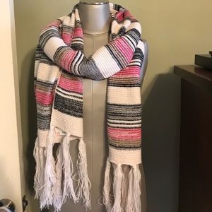 NWT pink cream black brown scarf