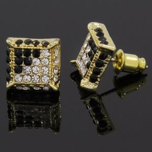 Other - Brand New Black Clear Diamond Men's Earrings